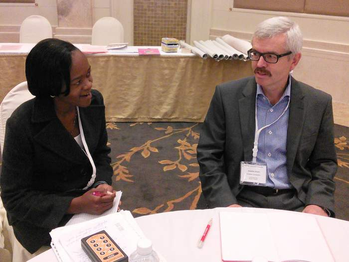 Mr Joachim Knoth talking with Elicah Barasa, our social reporter