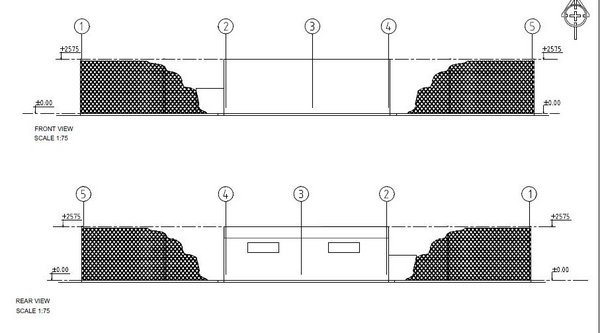 Front and rear View of the farm (Plan designed by Agricultural Services)