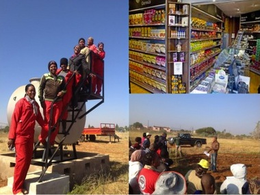 Top Right: Shop demonstration; Bottom Right: Peter Ngoma conducting training; Left Pic: Group of young farmers trained
