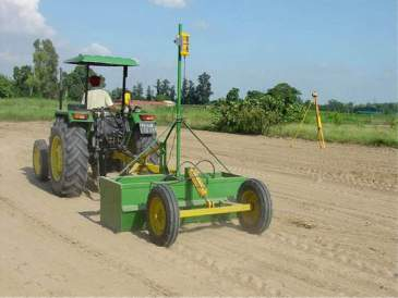 Laser-assisted land levelling effectively creates a flat soil surface, improving irrigation
