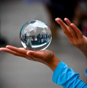 Reflections in a crystal ball. Captured on London's South Bank.