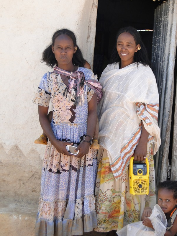 Hiwot Tirfneh (left) and other members of the Mearenet womens radio listening group in the Tigray Region of Ethiopia